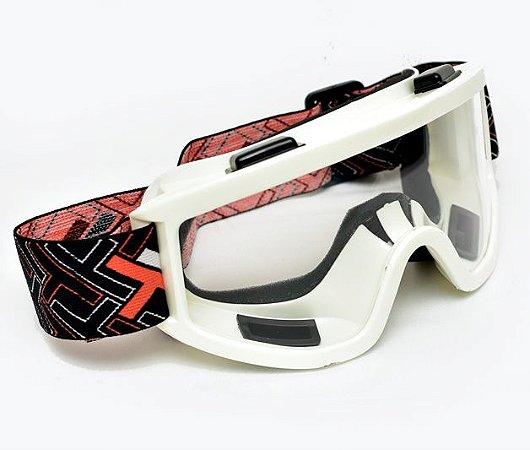 Óculos Motocross Mx Mattos Branco Cross Trilha