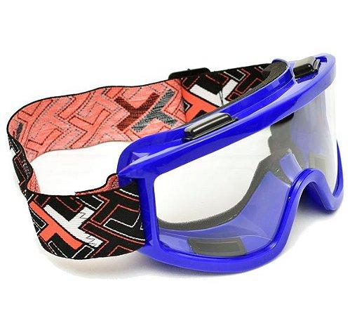 Óculos Motocross Mx Mattos Azul Cross Trilha