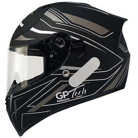 Capacete Gp Tech V128 Ride - Preto/Cinza Fosco (Óculos solar)