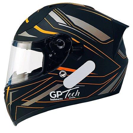 Capacete Gp Tech V128 Ride - Preto/Laranja Fosco (Óculos solar)