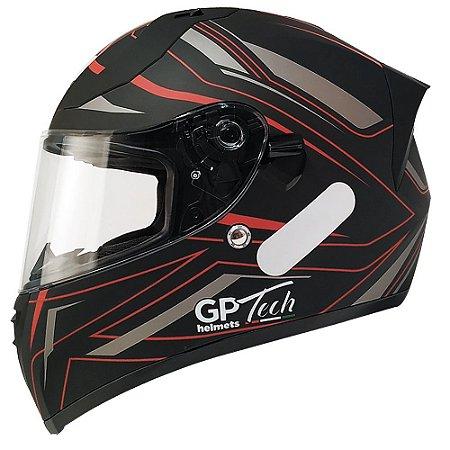Capacete Gp Tech V128 Ride - Preto/Vermelho Fosco (Óculos solar)