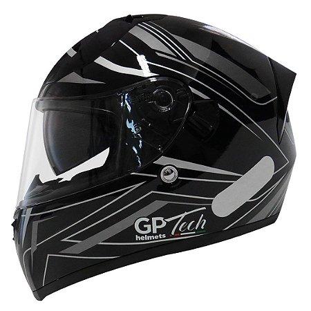 Capacete Gp Tech V128 Ride - Preto/Cinza Brilho (Óculos solar)