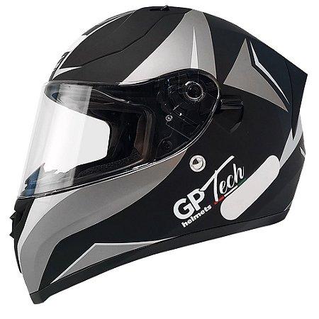 Capacete Gp Tech V128 Velocity - Preto/Cinza Fosco (Óculos solar)
