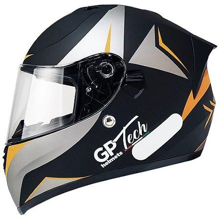 Capacete Gp Tech V128 Velocity - Preto/Laranja Fosco (Óculos solar)