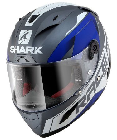 Capacete Shark Race-R Pro Sauer - Cinza/Azul/Branco Fosco