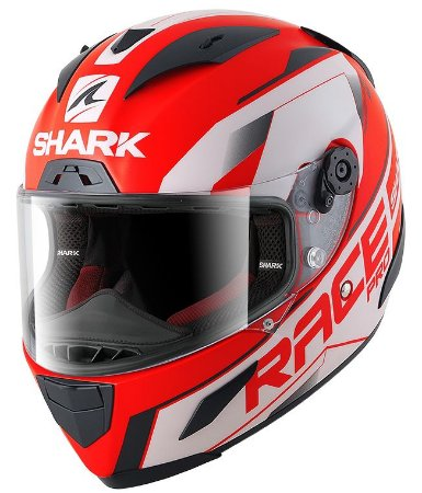 Capacete Shark Race-R Pro Sauer - Vermelho/Branco/Preto Fosco