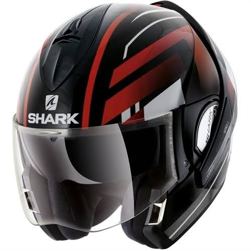 Capacete SHARK Evoline S3 Corvus - Preto/Branco/Vermelho