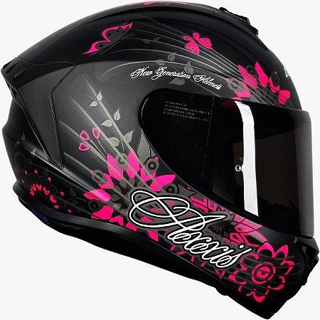 Capacete Axxis Draken Butterfly - Preto/Rosa/Cinza Fosco