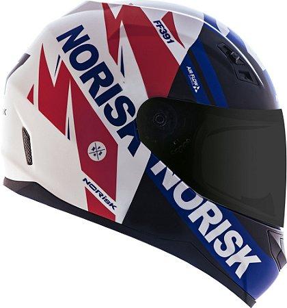 Capacete Norisk ff391 Furios Branco Azul Vermelho