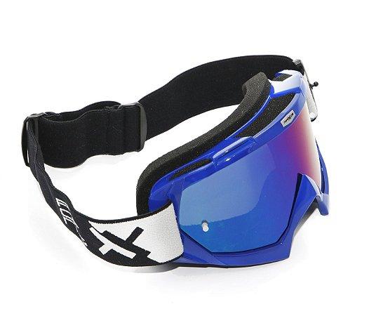 Oculos Motocross Mattos Racing Combat Azul Lente Espelhada
