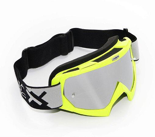 Oculos Motocross Mattos Racing Combat Amarelo Fluo Espelhado