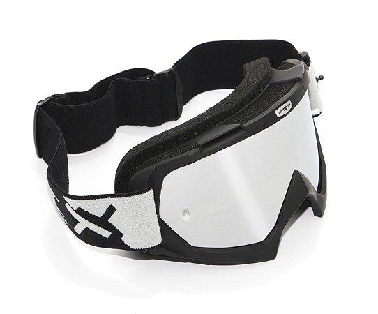 Oculos Motocross Mattos Racing Combat Preto Lente Espelhada