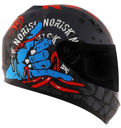 Capacete Norisk ff391 Zombie Preto Fosco Azul Vermelho