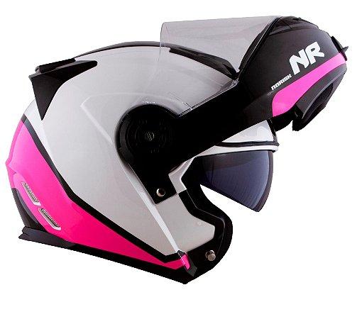 Capacete Robocop Norisk Ff345 Route Chance Rosa Pink Branco