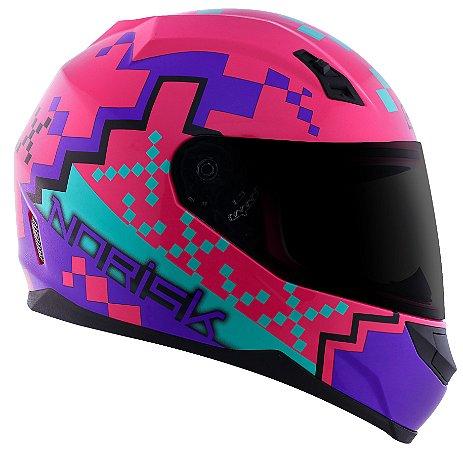 Capacete Norisk ff391 Pixel Pink Purpura Azul Brilho