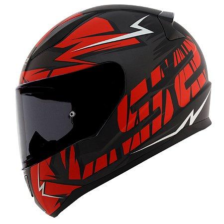 Capacete Ls2 FF353 Cromo Preto Fosco Vermelho