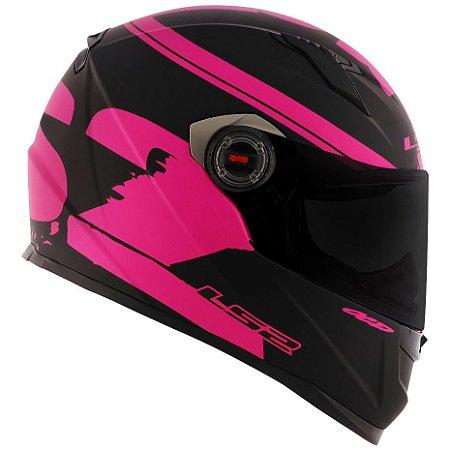 Capacete Feminino Ls2 FF358 Fluo Preto Fosco Rosa Pink