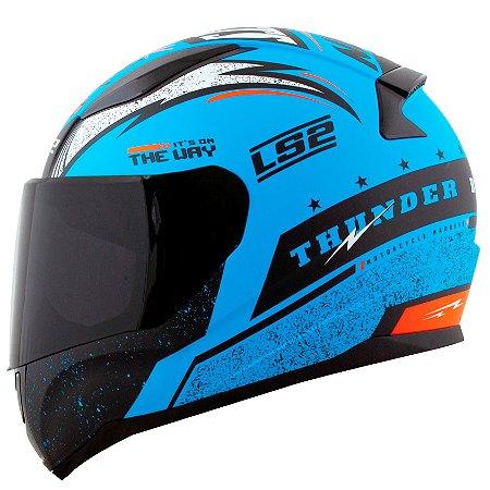 Capacete Ls2 FF353 Thunder Azul Preto Laranja Fosco