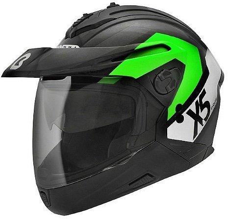 Capacete Bieffe X5 Evolve 5 Em 1 Verde Enduro Big Trail