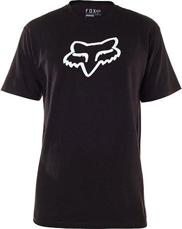 Camiseta Fox Legacy Head Preta Sem Costura Lateral Original