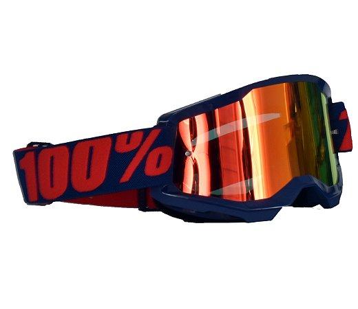 Óculos 100% Strata 2.0 Masego Roxo Espelhado Motocross
