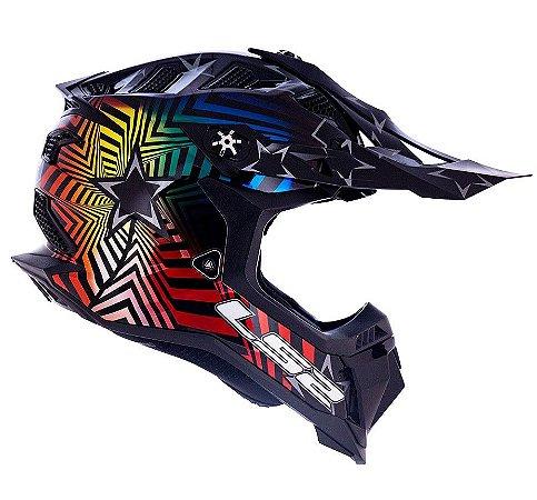 Capacete Motocross Ls2 MX700 Subverter Evo Collider Colorido