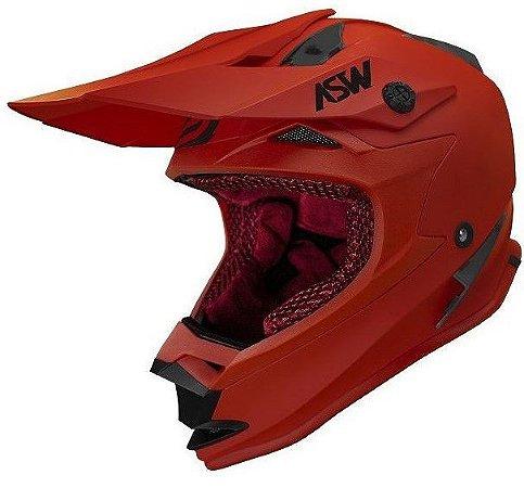 Capacete ASW Fusion Solid Vermelho Fosco Motocross Trilha