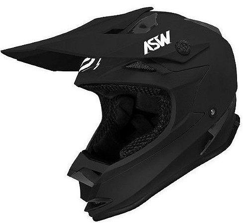 Capacete ASW Fusion Solid Preto Fosco Motocross Trilha