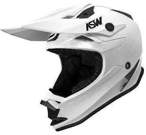 Capacete ASW Fusion Solid Branco Fosco Motocross Trilha