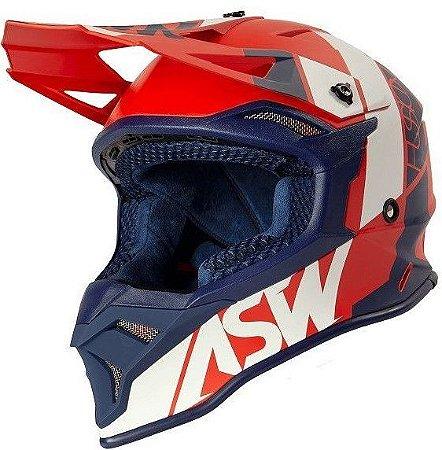 Capacete Motocross Cross ASW Fusion 2 Seecker Vermelho Azul