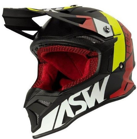 Capacete Motocross Cross ASW Fusion 2 Seecker Vermelho Preto