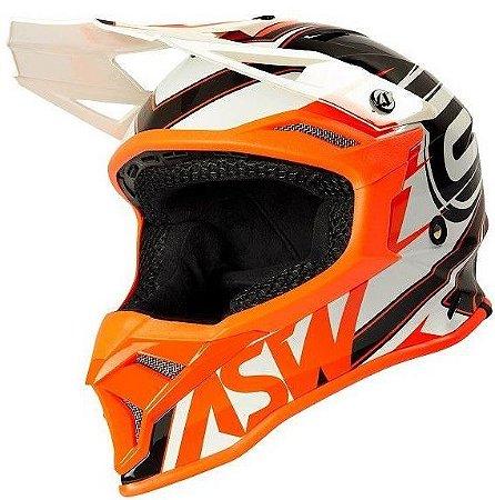 Capacete Motocross Cross ASW Fusion 2 Blade Branco Laranja