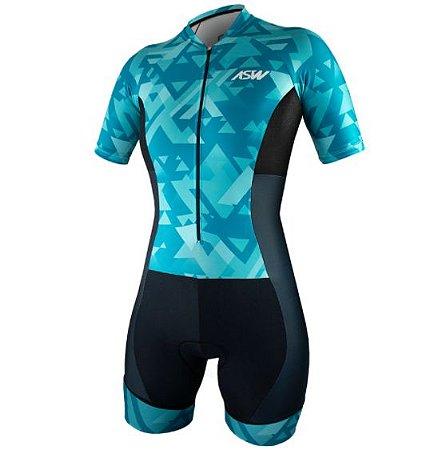 Macaquinho Ciclismo Bike Feminino Asw Vert Azul Claro Preto
