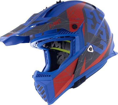Capacete Ls2 Motocross Cross Mx437 Fast Alpha Azul Fosco