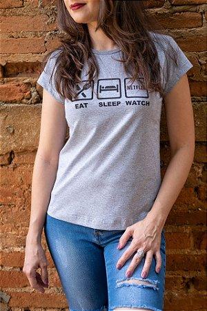 Camiseta Feminina Netflix - Eat, Sleep & Watch