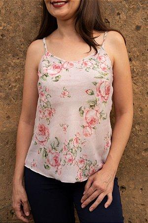 Blusa Feminina de Alça Estampada Flores