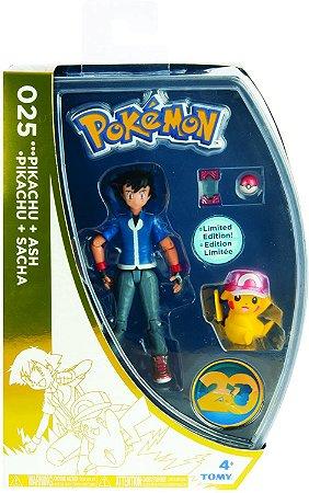 TOMY USA Pokemon 20th Anniversary Pikachu & Ash Figure Limited Edition