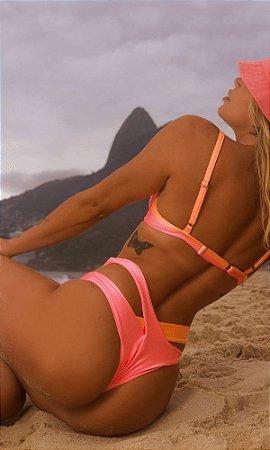 Calcinha de Biquíni Duas Tiras Sal da Maré, Modelo Bia, Cor Rosa Neon, Peça Avulsa