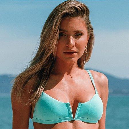 Biquíni Aro V Sem Bojo Com Regulagem Verde Tiffany - Top Adri