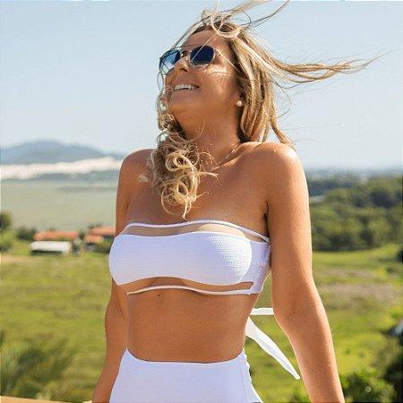 Biquíni Top Faixa com Tule Branco Canelado - Top Lorena