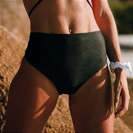 Biquíni Cintura Alta - Hot Pants Preto Canelado