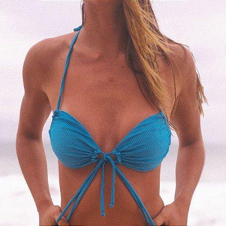 Biquíni Top Drapeado com Bojo Removível -  Azul Enseada Canelado - Top Paty