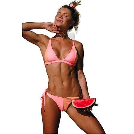 Biquíni Triângulo Sem Costura com Bojo Removível Rosa Tutti Frutti com Laranja Neon - Top Thais