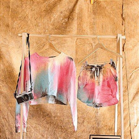 Conjunto de Moletom + Short em Tie-Dye (Laranja, Rosa, Preto e Azul)