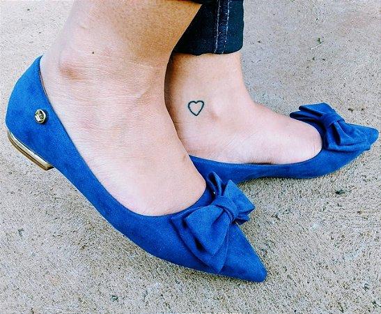 5538c6732 Sapatilha Confort Bico Fino Nobuck Azul Marinho com Laço - Loja ...