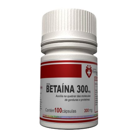 Betaína HCL 300mg 100 Cápsulas