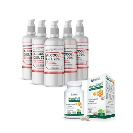 KIT ImunoTabs + 5x Álcool Gel 70% 200ml Pump com D-Pantenol