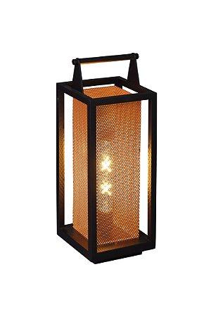 Luminária de Chão - Modelo Lampião Médio - Cor: Preto / Cobre
