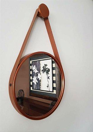 Espelho Adnet Decorativo Com Alça Em Couro 40 Cm - Brendalux Cor:COBRE