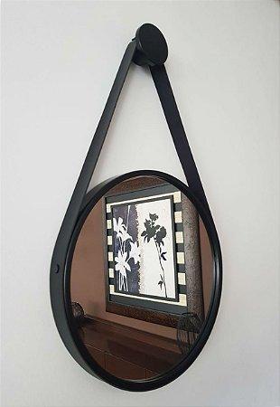 Espelho Adnet Decorativo Com Alça Em Couro 40 Cm - Brendalux Cor: Preto/Preto